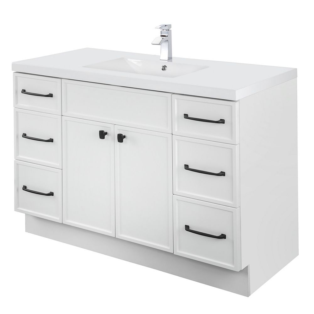 Cutler Kitchen & Bath MANHATTAN 48 inch W x 36 1/2 inch H x 21 inch D 2 DR 6 DRW Single Sink Free Standing Vanity White with Rectangle Basin