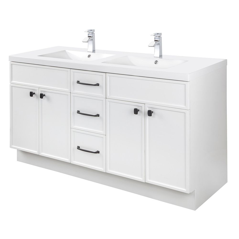 Cutler Kitchen & Bath MANHATTAN 60 inch W x 36 1/2 inch H x 21 inch D 4 DR 3 DRW Double Sink Free Standing Vanity White with Rectangle Basin