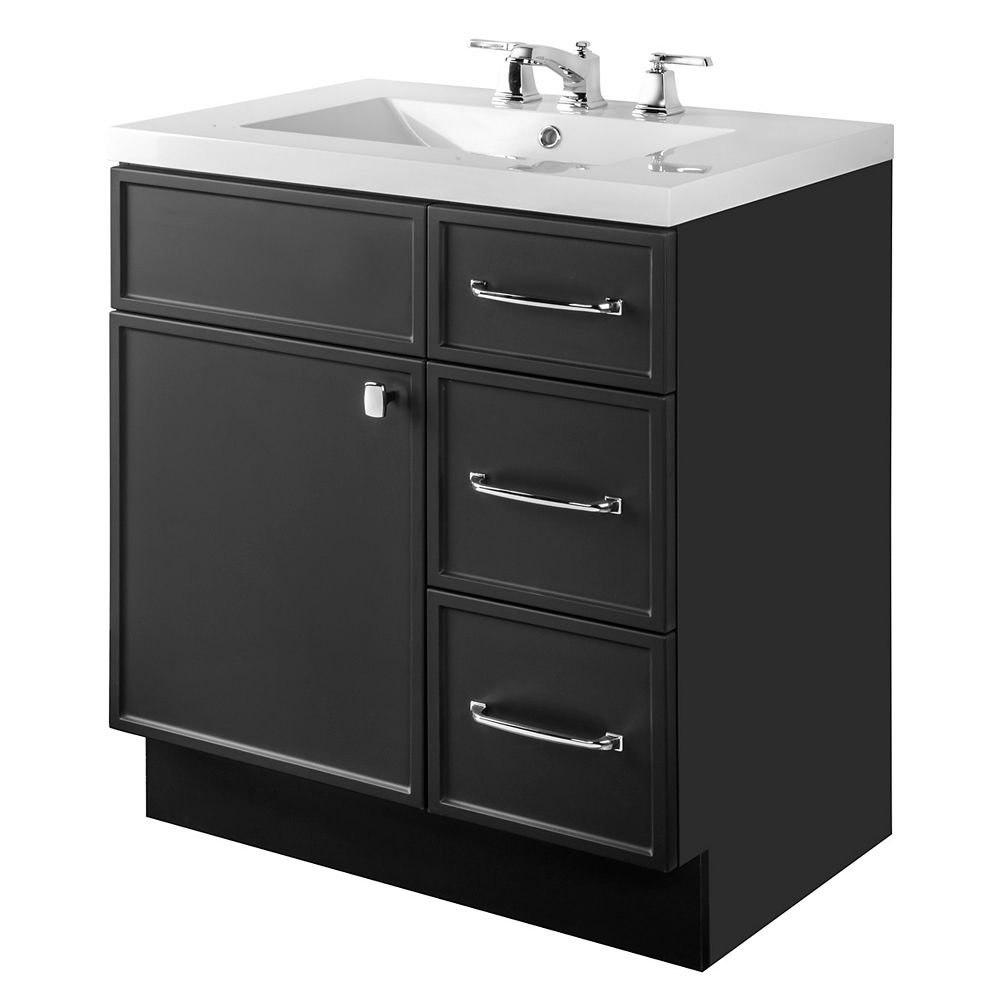 Cutler Kitchen & Bath MANHATTAN 30 inch W x 36 1/2 inch H x 21 inch D 1 DR 3 DRW Single Sink Free Standing Vanity Black with Rectangle Basin