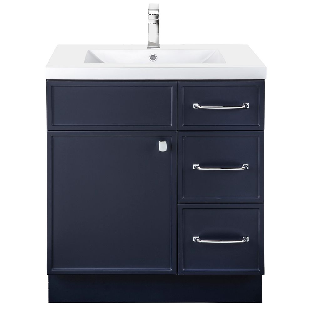 Cutler Kitchen & Bath MANHATTAN 30 inch W x 36 1/2 inch H x 21 inch D 1 DR 3 DRW Single Sink Free Standing Vanity Blue with Rectangle Basin