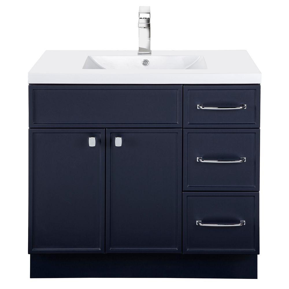Cutler Kitchen & Bath MANHATTAN 36 inch W x 36 1/2 inch H x 21 inch D 2 DR 3 DRW Single Sink Free Standing Vanity Blue with Rectangle Basin