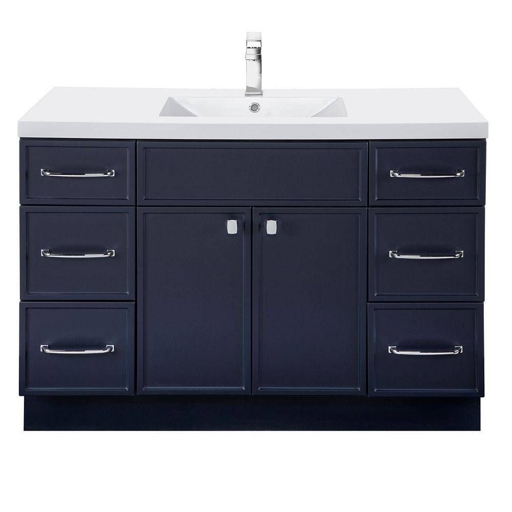 Cutler Kitchen & Bath MANHATTAN 48 inch W x 36 1/2 inch H x 21 inch D 2 DR 6 DRW Single Sink Free Standing Vanity Blue with Rectangle Basin