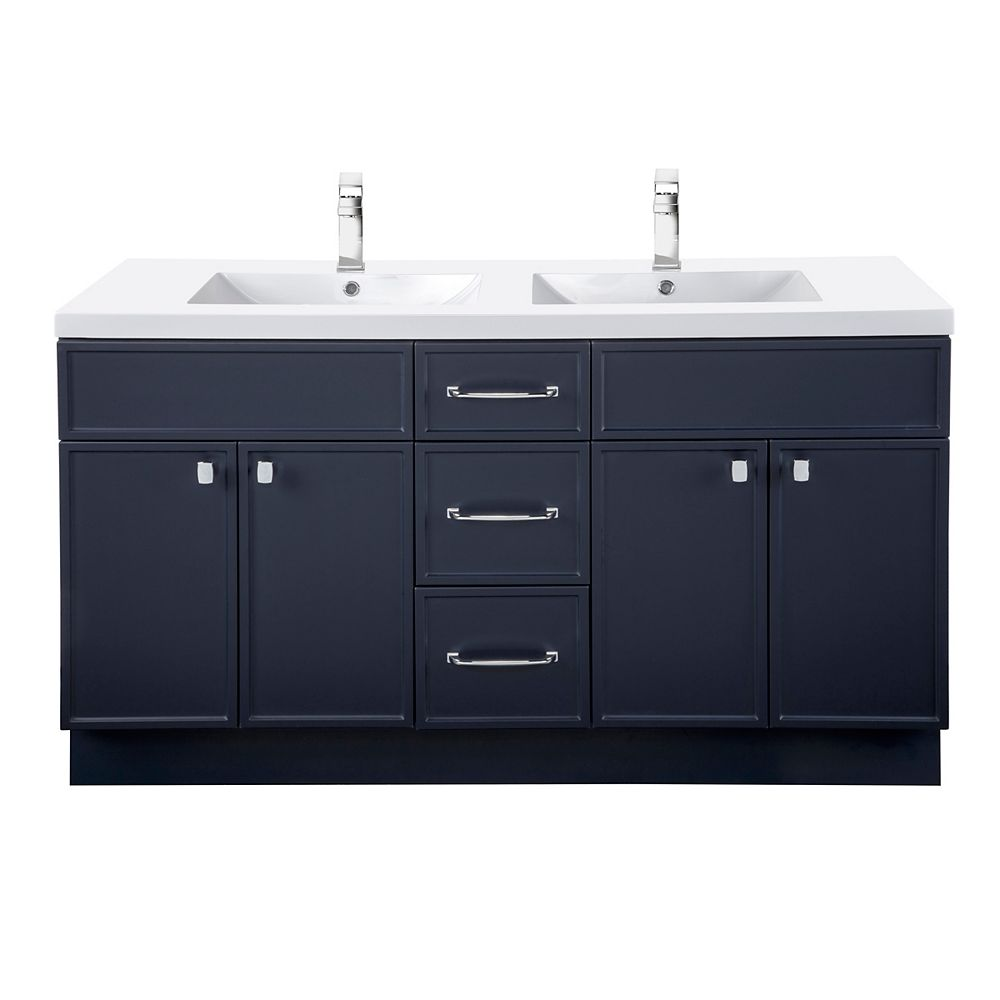 Cutler Kitchen & Bath MANHATTAN 60 inch W x 36 1/2 inch H x 21 inch D 4 DR 3 DRW Double Sink Free Standing Vanity Blue with Rectangle Basin
