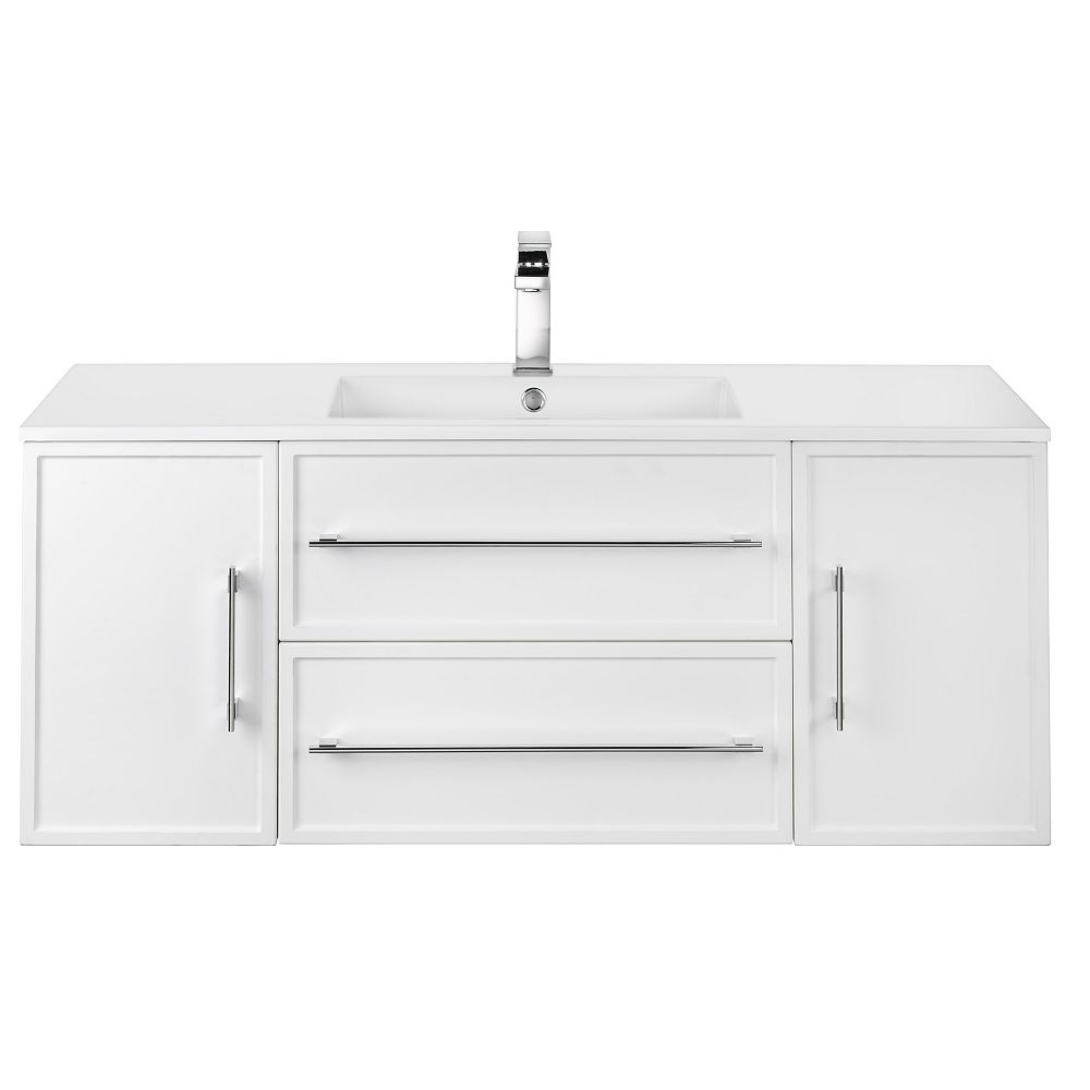 Cutler Kitchen & Bath MILANO 48 inch W x 20 inch H x 18 inch D 2 DR 2 DRW Single Sink Wall Mounted Vanity in White with Rectangle White Basin