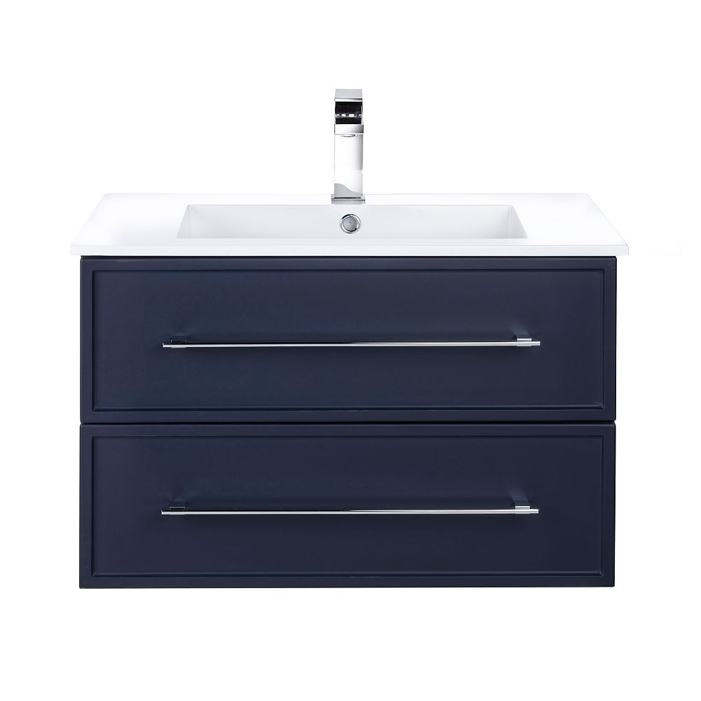 Cutler Kitchen & Bath MILANO 30 inch W x 20 inch H x 18 inch D 2 DRW Single Sink Wall Mounted Vanity in Blue with Rectangle White Basin