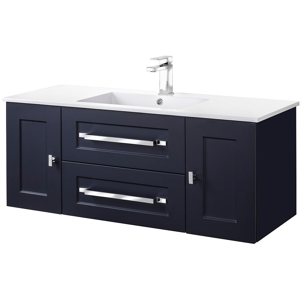 Cutler Kitchen & Bath MILANO 48 inch W x 20 inch H x 18 inch D 2 DR 2 DRW Single Sink Wall Mounted Vanity in Blue with Rectangle White Basin