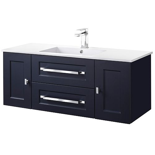 MILANO 48 inch W x 20 inch H x 18 inch D 2 DR 2 DRW Single Sink Wall Mounted Vanity in Blue with Rectangle White Basin