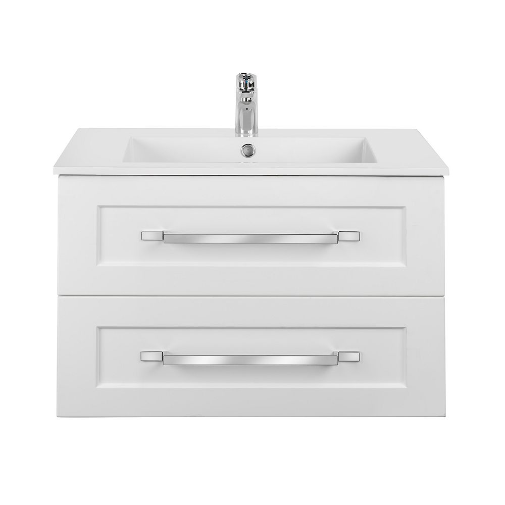 Cutler Kitchen & Bath RIGA 30 inch x 20 inch H x 18 inch D 2 DRW Single Sink Wall Mounted Vanity in White with Rectangular White Basin