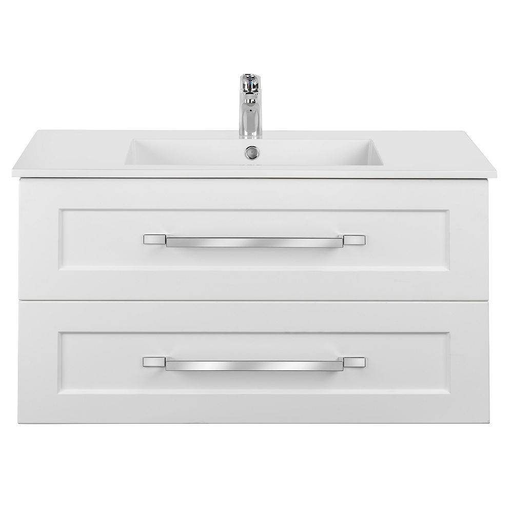 Cutler Kitchen & Bath RIGA 36 inch x 20 inch H x 18 inch D 2 DRW Single Sink Wall Mounted Vanity in White with Rectangular White Basin