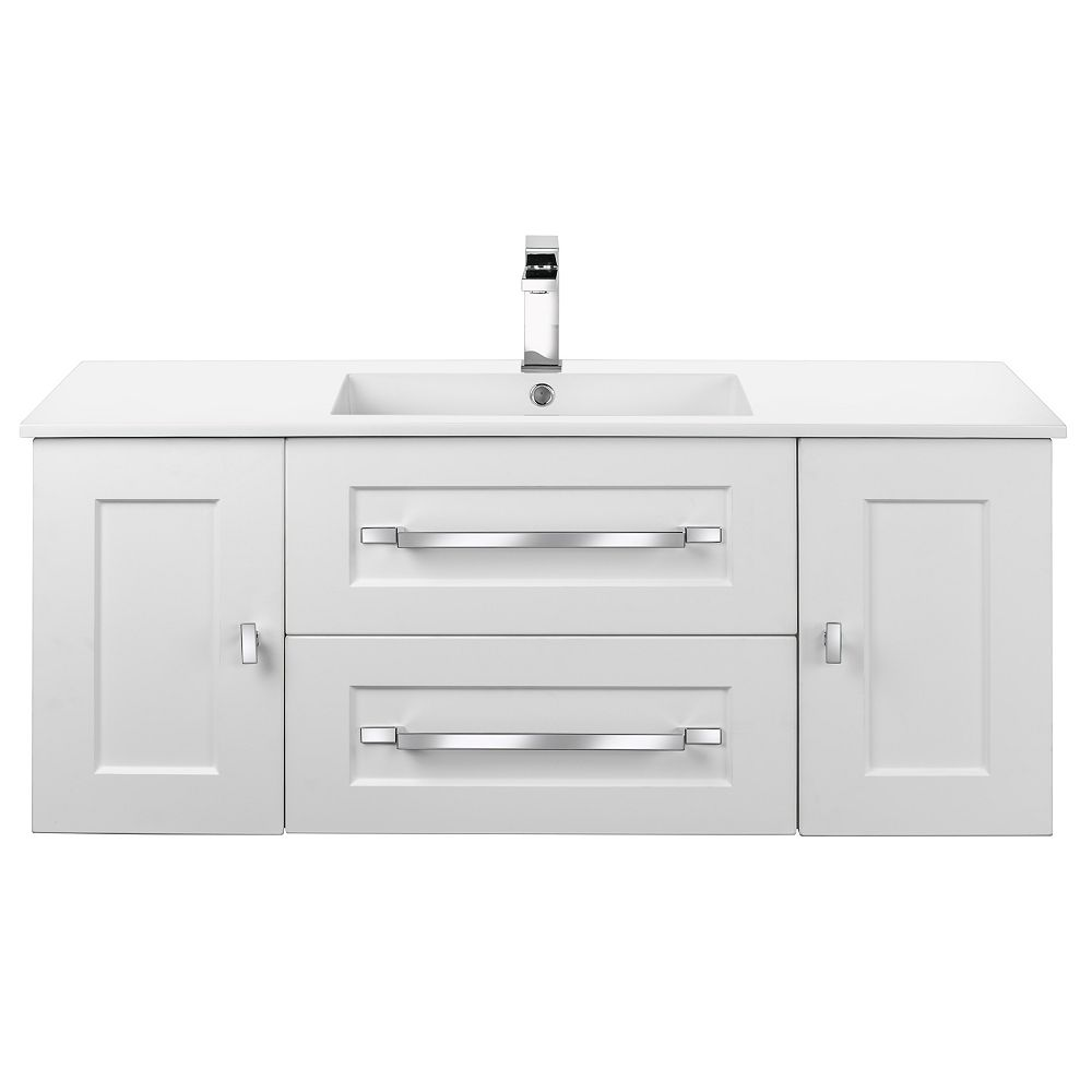 Cutler Kitchen & Bath RIGA 48 inch x 20 inch H x 18 inch D 2 DR 2 DRW Single Sink Wall Mounted Vanity in White with Rectangular White Basin