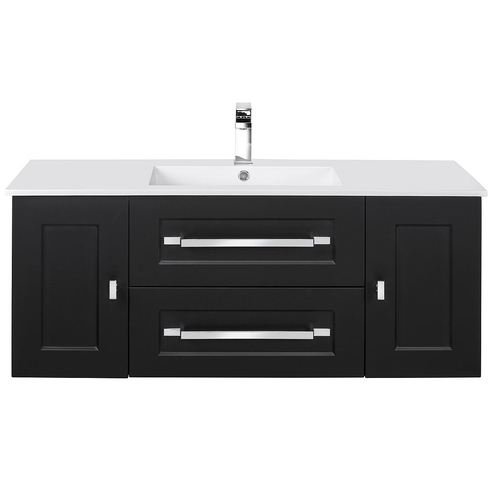 Cutler Kitchen & Bath RIGA 48 inch x 20 inch H x 18 inch D 2 DR 2 DRW Single Sink Wall Mounted Vanity in Black with Rectangular White Basin