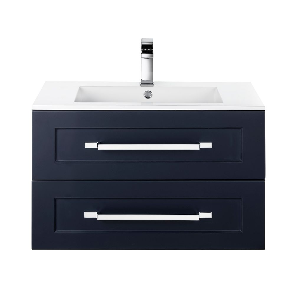 Cutler Kitchen & Bath RIGA 30 inch x 20 inch H x 18 inch D 2 DRW Single Sink Wall Mounted Vanity in Blue with Rectangular White Basin
