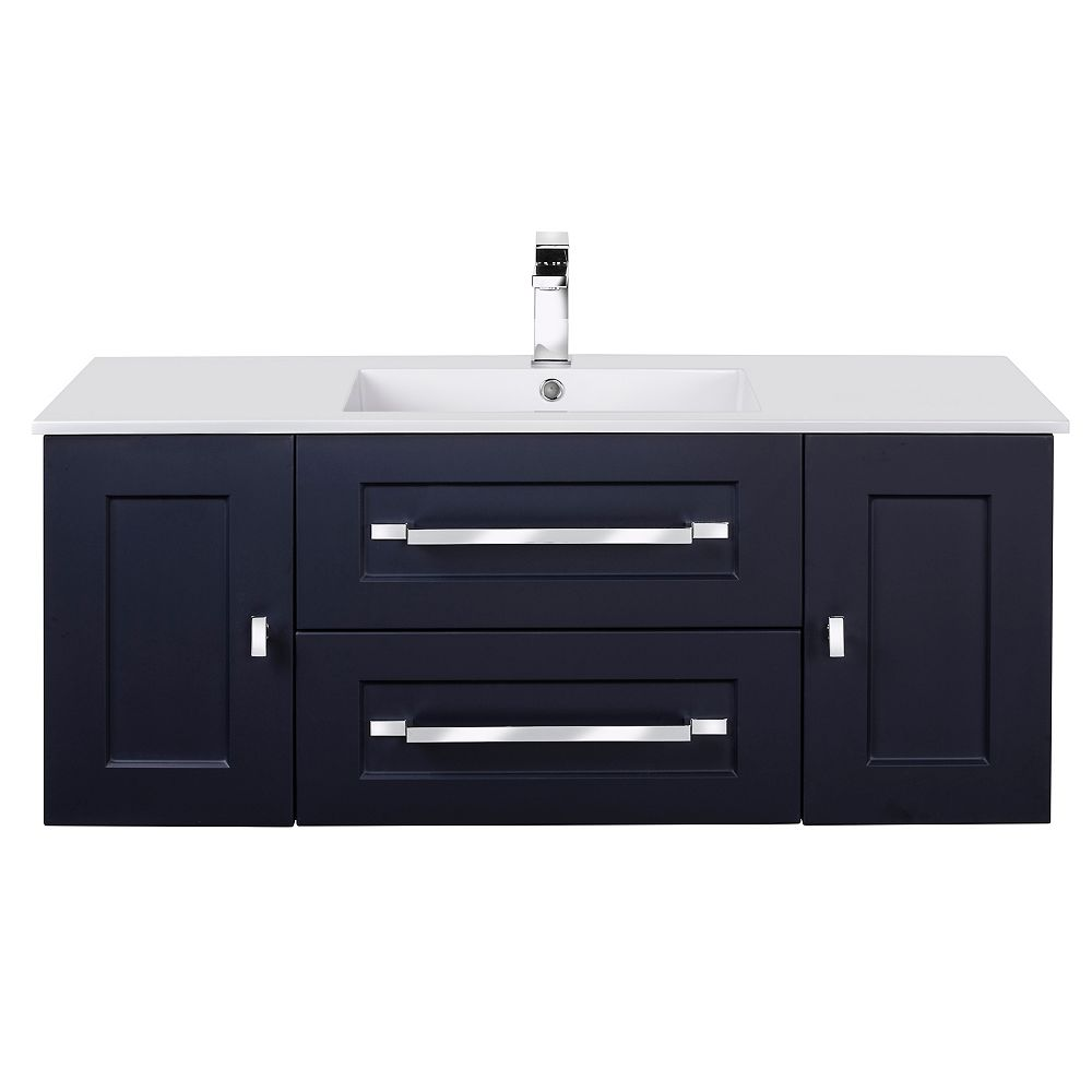Cutler Kitchen & Bath RIGA 48 inch x 20 inch H x 18 inch D 2 DR 2 DRW Single Sink Wall Mounted Vanity in Blue with Rectangular White Basin