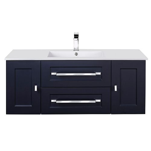 RIGA 48 inch x 20 inch H x 18 inch D 2 DR 2 DRW Single Sink Wall Mounted Vanity in Blue with Rectangular White Basin