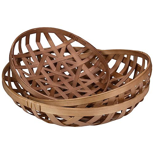Set of 3 Brown Lattice Tobacco Rustic Table Top Baskets