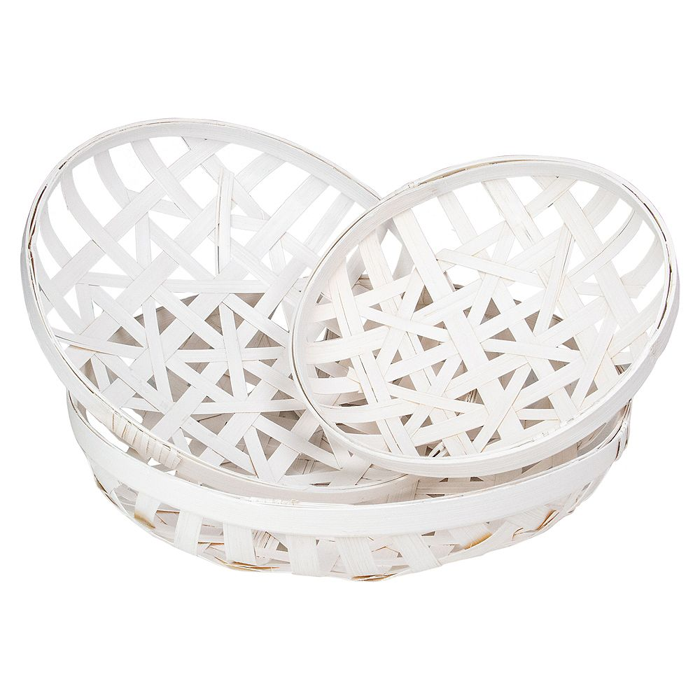 Northlight Set of 3 Snow White Lattice Tobacco Table Top Baskets