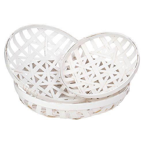 Set of 3 Snow White Lattice Tobacco Table Top Baskets