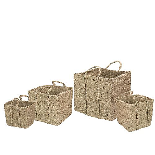 Northlight Set of 4 Rustic Beige Square Wicker Table and Floor Baskets