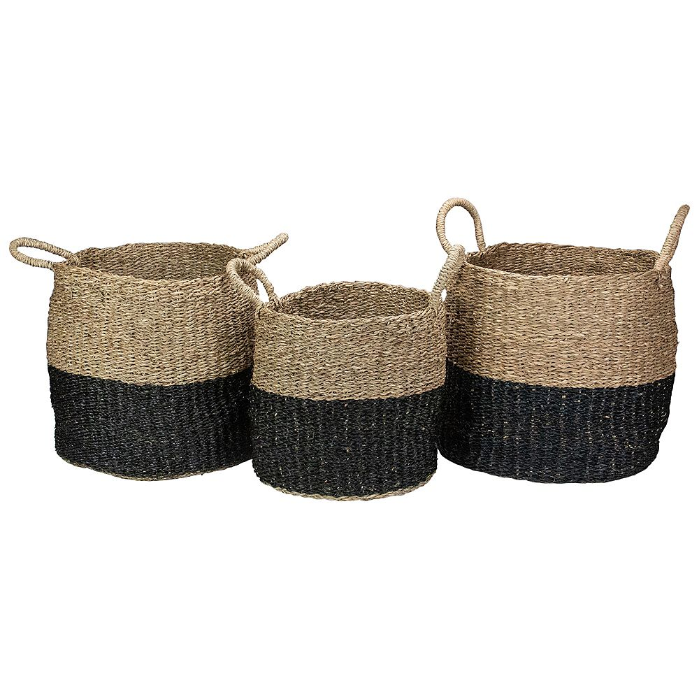 Northlight Set of 3 Beige and Black Round Wicker Table and Floor Baskets