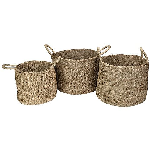 Set of 3 Round Natural Beige Seagrass Table and Floor Baskets