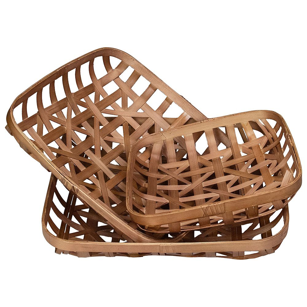 Northlight Set of 3 Brown Lattice Square Table Top Tobacco Baskets
