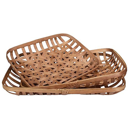 Set of 3 Brown Rectangular Lattice Tobacco Table Top Baskets