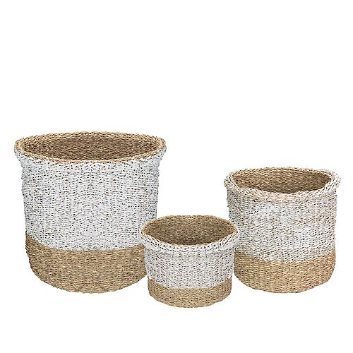 Set of 3 Beige and White Wicker Table and Floor Baskets