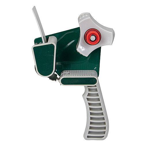 Pistolet à ruban d'emballage gris et vert de 10 po à une main de 2 po