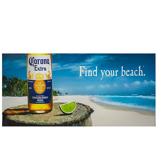 "23.5"" Corona Beer Tropical Beach Scene Lighted Canvas Wall Art"
