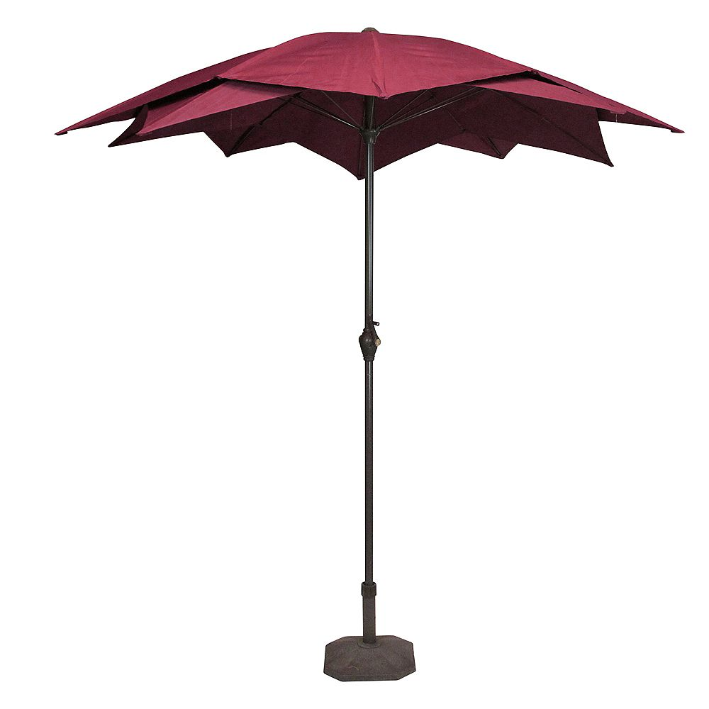 Northlight 8.85ft Outdoor Patio Lotus Umbrella with Hand Crank  Burgundy