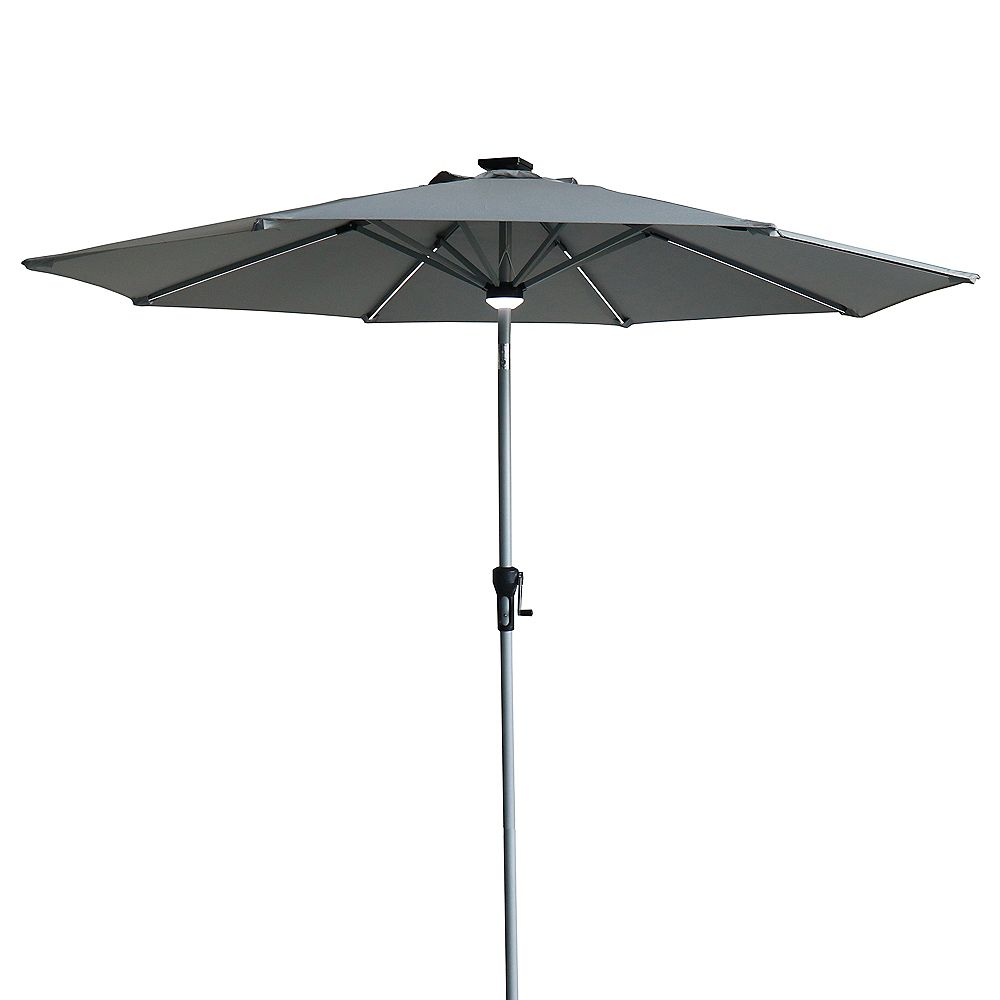 Northlight 9ft Solar Lighted Outdoor Patio Market Umbrella with Hand Crank and Tilt  Gray