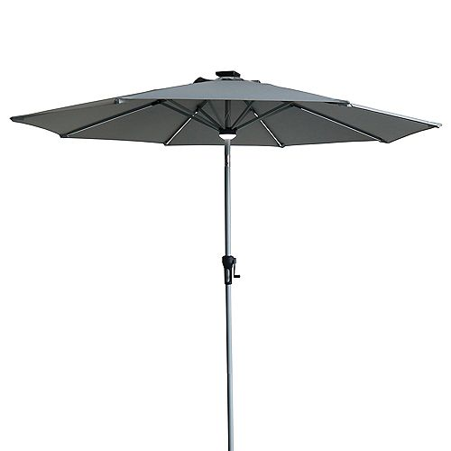 Parapluie de marché extérieur éclairé solaire de 9 pieds avec manivelle et inclinaison gris