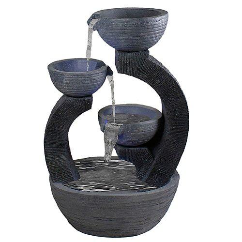 "31.5"" Black Lighted Three-tier Outdoor Garden Water Fountain"