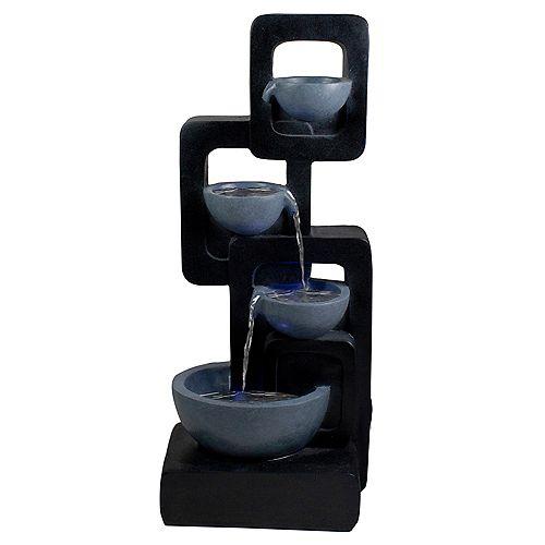 "32"" Black and Gray Four-tier Modern Outdoor Garden Water Fountain"