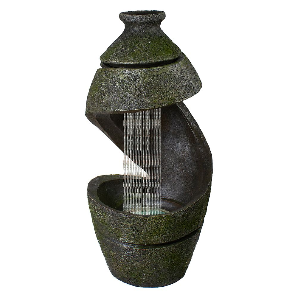 """Northlight 31"""" Green and Gray Mossy Outdoor Garden Water Fountain"""