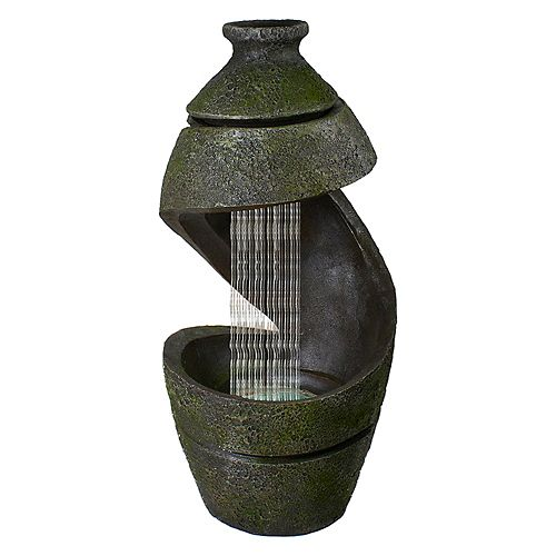 """31"""" Green and Gray Mossy Outdoor Garden Water Fountain"""