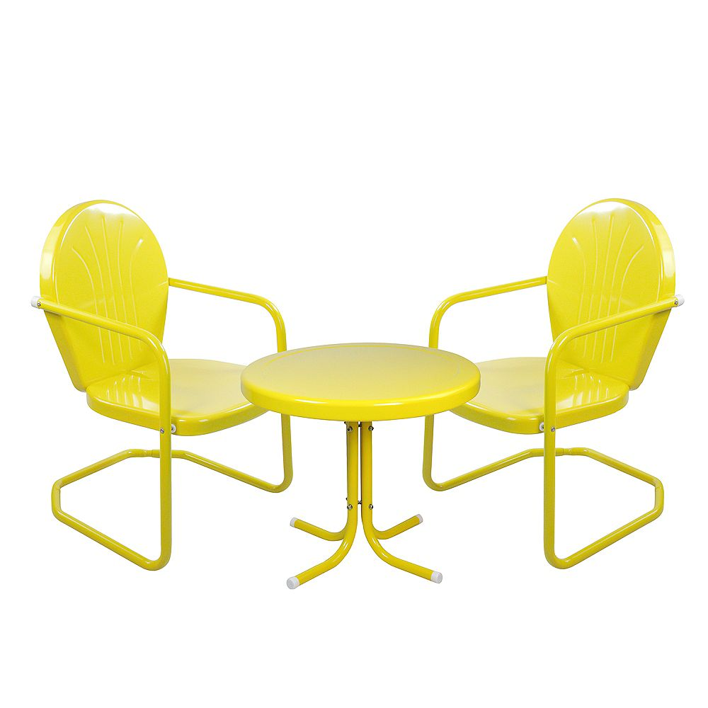Northlight 3-Piece Retro Metal Tulip Chairs and Side Table Outdoor Set  Yellow