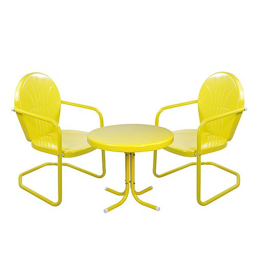 3-Piece Retro Metal Tulip Chairs and Side Table Outdoor Set  Yellow