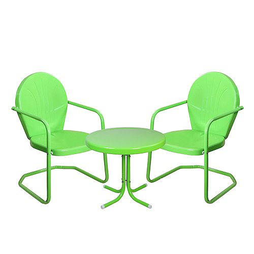 3-Piece Retro Metal Tulip Chairs and Side Table Outdoor Set  Lime Green