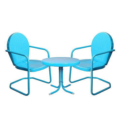 3-Piece Retro Metal Tulip Chairs and Side Table Outdoor Set  Turquoise Blue