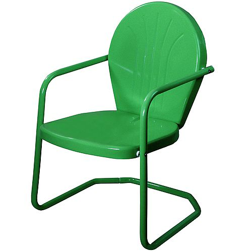 34-Inch Outdoor Retro Tulip Armchair  Forest Green
