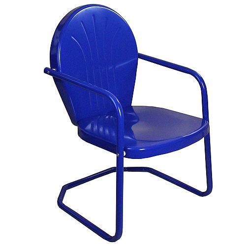 34-Inch Outdoor Retro Tulip Armchair  Blue