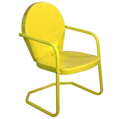 34-Inch Outdoor Retro Tulip Armchair  Yellow