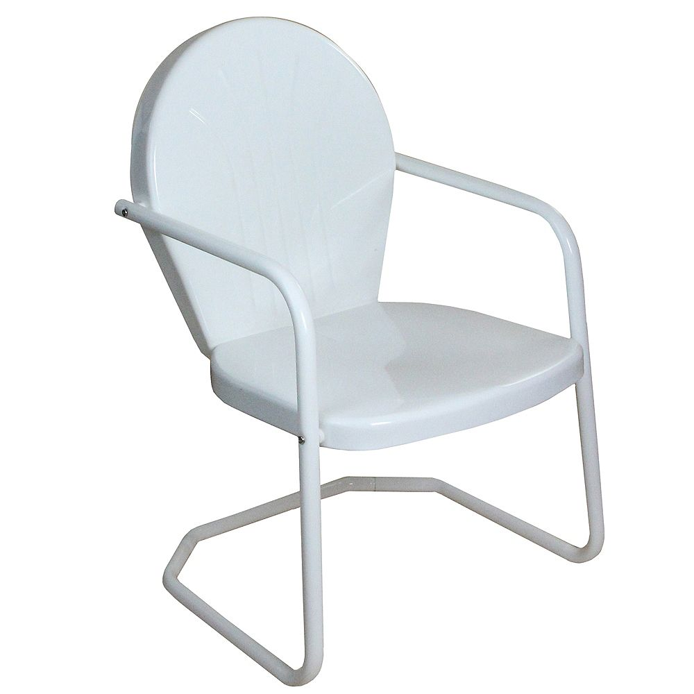 Northlight 34-Inch Outdoor Retro Tulip Armchair  White