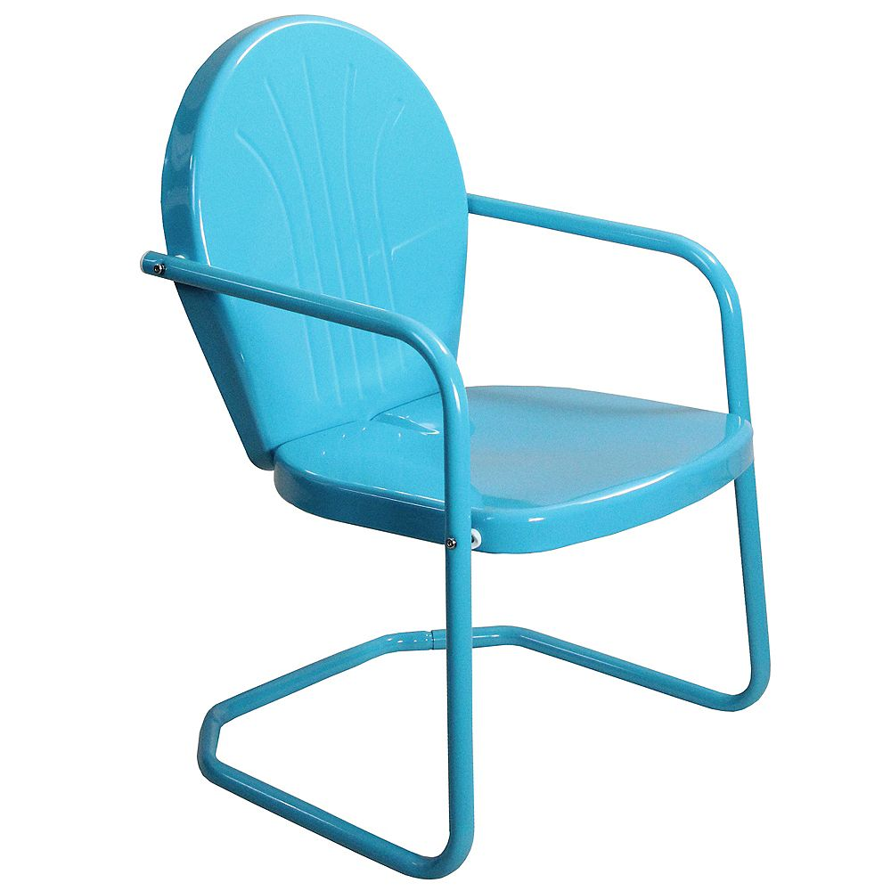 Northlight 34-Inch Outdoor Retro Tulip Armchair  Turquoise Blue