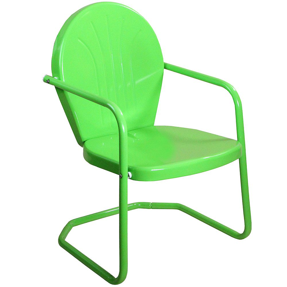 Northlight 34-Inch Outdoor Retro Tulip Armchair  Lime Green