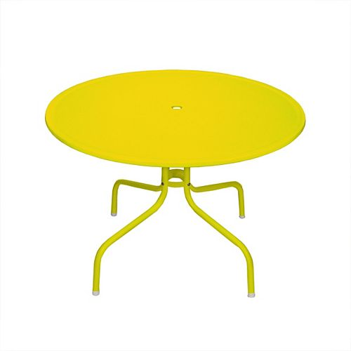 39.25-Inch Outdoor Retro Metal Tulip Dining Table  Yellow