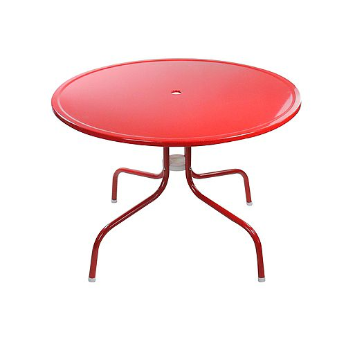 39.25-Inch Outdoor Retro Metal Tulip Dining Table  Red