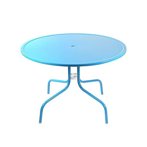 39.25-Inch Outdoor Retro Metal Tulip Dining Table  Turquoise Blue