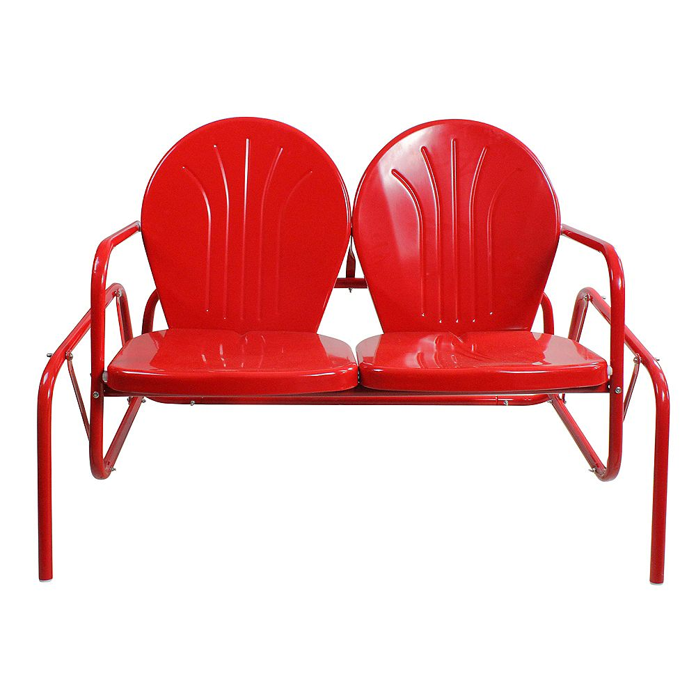Northlight 47-Inch Outdoor Retro Tulip Double Glider Chair  Red
